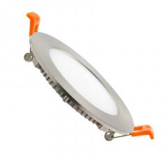 Dalle LED Ronde Extra Plate 6W Cadre Argenté