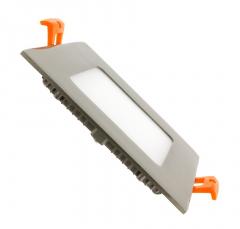 Dalle LED Carrée Extra Plate 6W Cadre Argenté